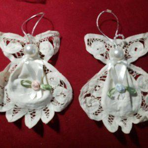 Avon Charming Battenburg Lace Angels Ornaments